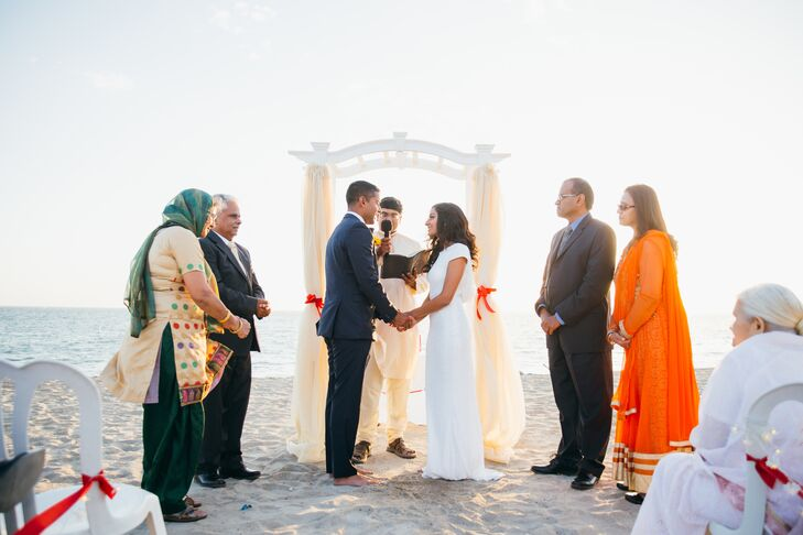 Vidya and Pinder added some traditional Hindu elements to their largely nondenominational ceremony, such as the Brahma Vivaah blessing with Pinder, Vidya and their parents.