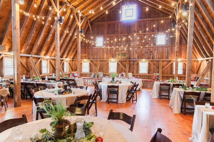 Barn Wedding Reception With String Lights