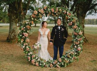 After dating for 10 years, high school sweethearts Jamie Kuang (26) and Min Jung (26 and a US Army Ranger) tied the knot in a romantic mountainside ce