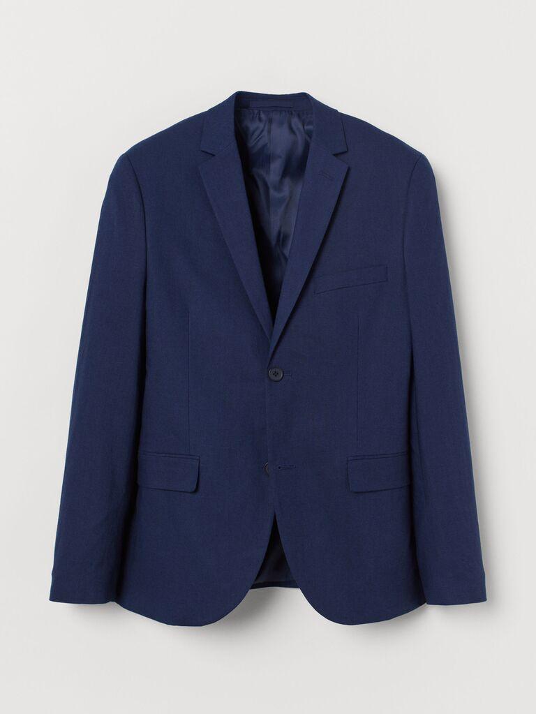 e4eb0a71 Navy linen blazer men's beach wedding attire