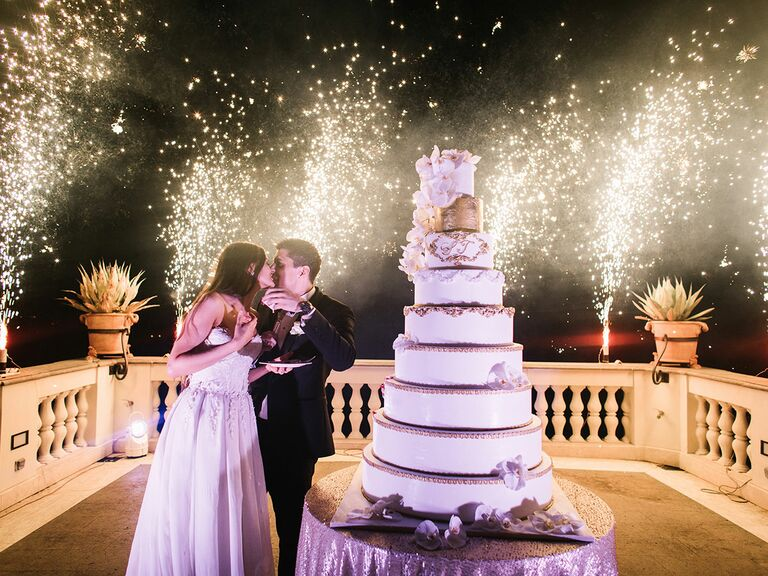 Wedding reception cake-cutting ceremony and fireworks display