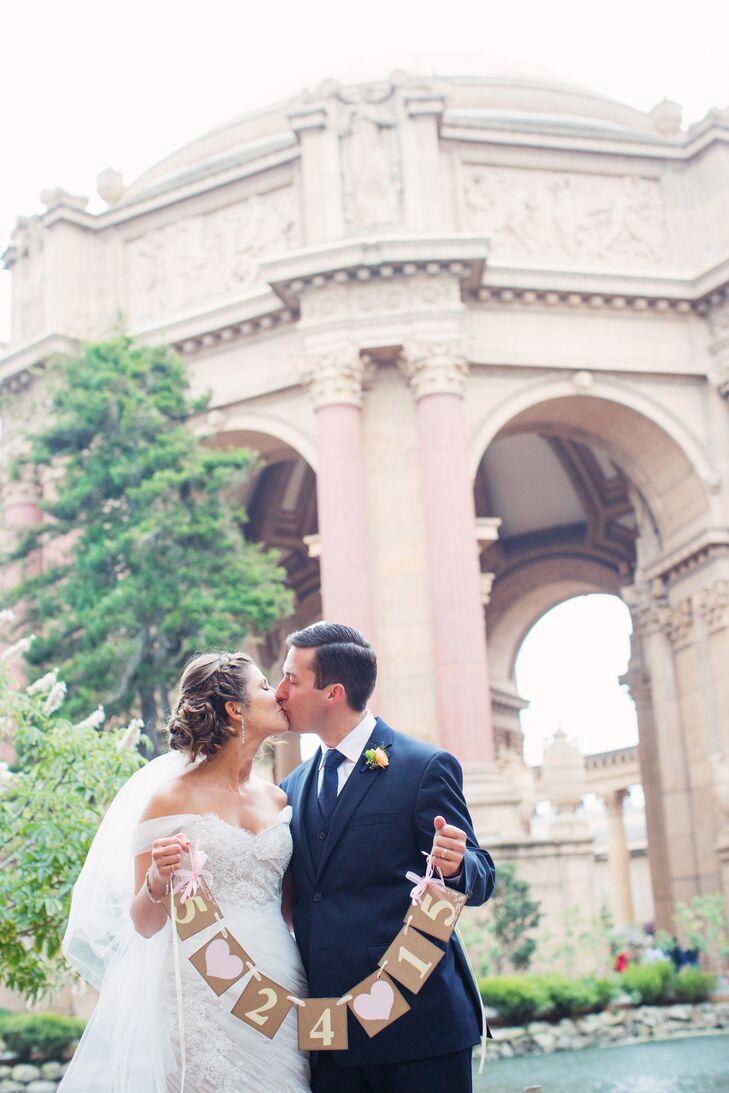 Off-the-Shoulder Ivory Wedding Dress