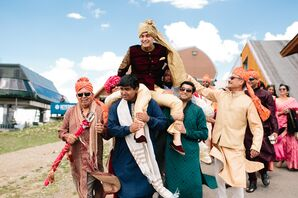 Groom with Guests During Traditional Baraat