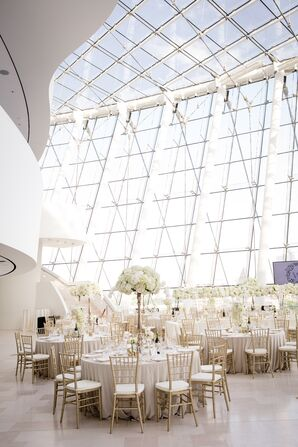 White Wedding Reception in Performing Arts Center