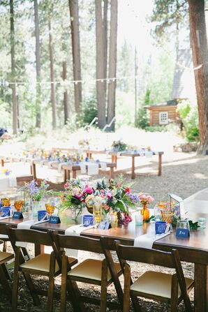 Bohemian Outdoor Reception with Wooden Folding Chairs