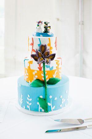 Colorful, Whimsical Wedding Cake