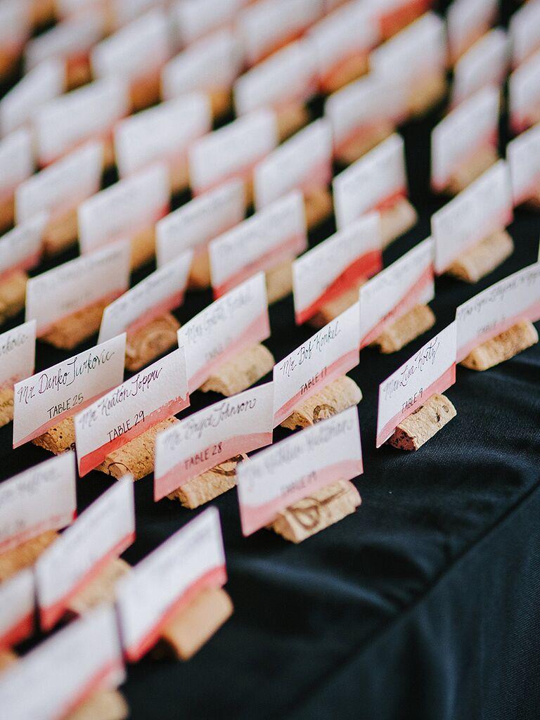 DIY wedding reception escort cards with cork