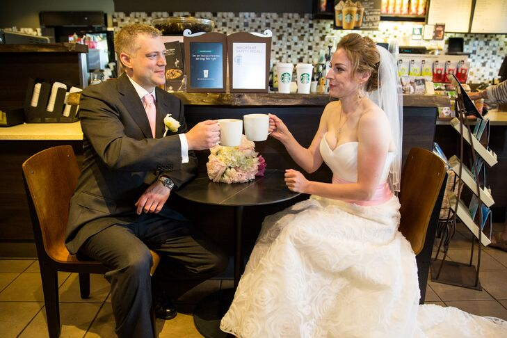 The couple met at Starbucks and love latte drinks so they had a mini-photo shoot at a local Starbucks.