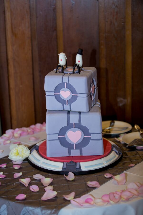 The couple loved playing video games together (before they had twins) so their cake was inspired by the video game Portal.
