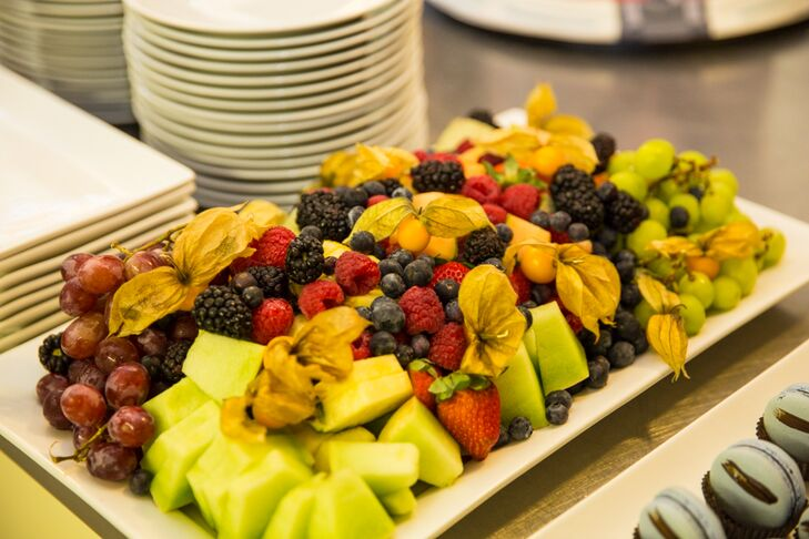 A plate piled high with fresh pineapple, cantaloupe, raspberries, blueberries and strawberries were served at dinner.