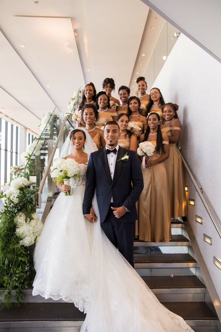 Wedding Party Portraits at Penthouse Wedding in Boston