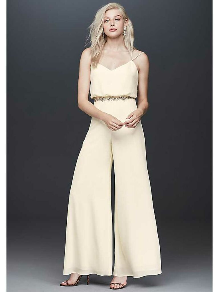 Ivory silk jumpsuit with wide pant legs