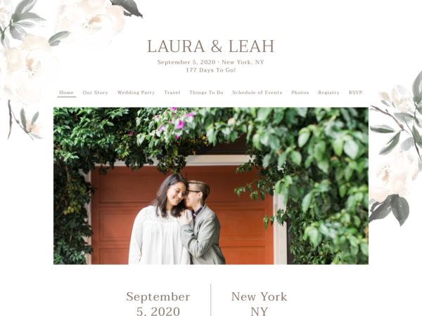 Elegant Garden Wedding Website Template, The Knot