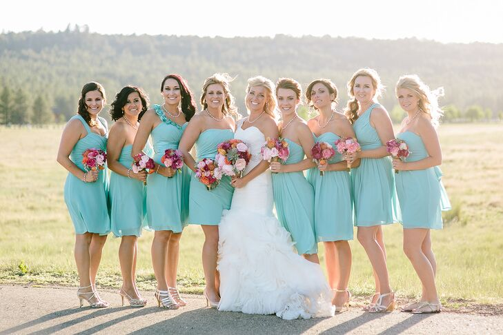 Pink and Turquoise Blue Bridesmaid Dresses