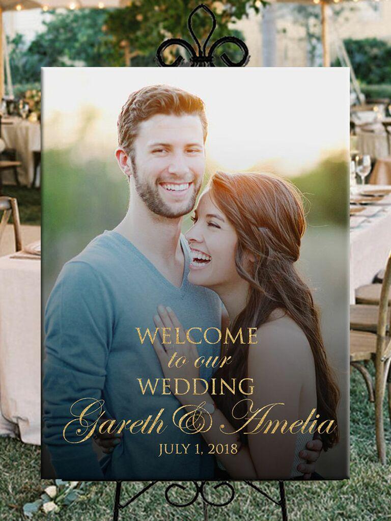 Photo wedding welcome sign