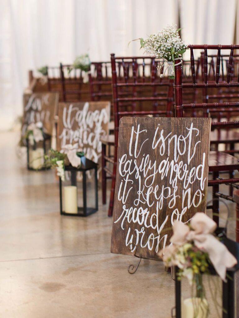 Bible verses on rustic wood wedding signs