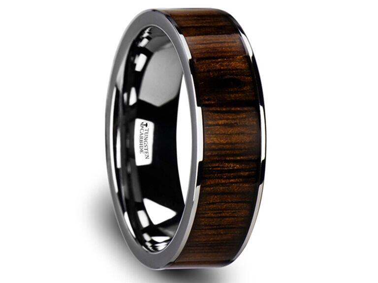 Thorsten Bokken flat tungsten wedding band with black walnut wood inlay