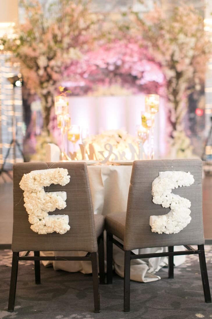 Personalized Sweetheart Chairs with Rose Monogram
