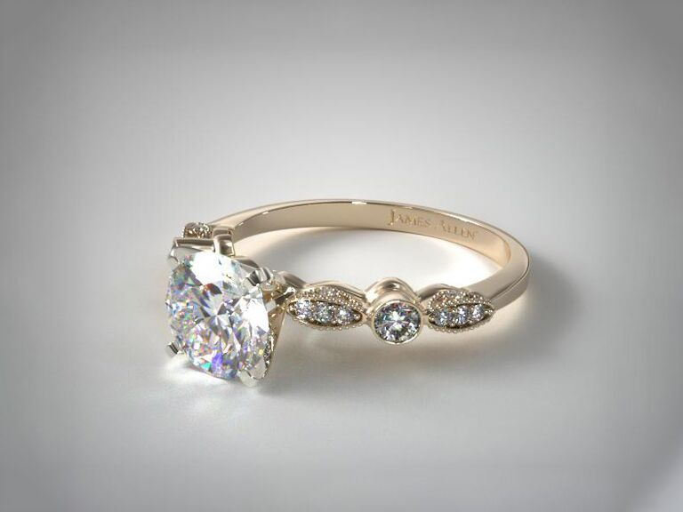 James Allen antique bezel and pavé set engagement ring in 14K yellow gold