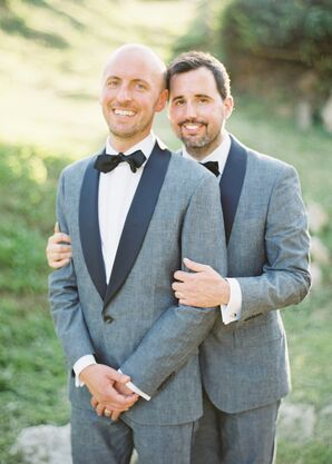 Grooms in Matching Gray Chambray Tuxedos