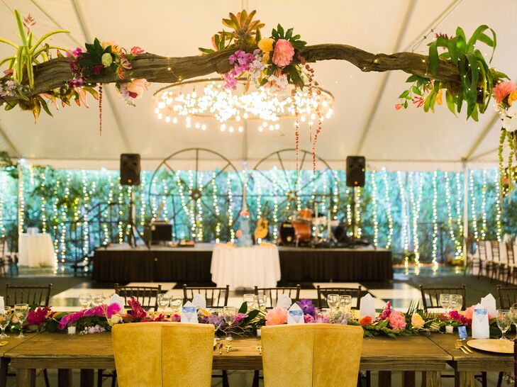 Colorful Tented Reception with Tropical Flowers