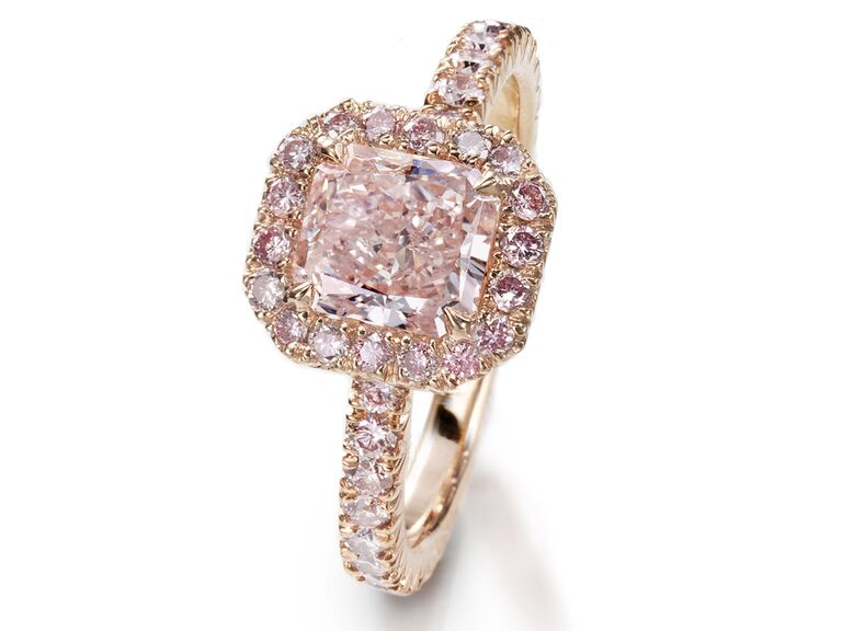 Radiant-cut pink diamond engagement ring