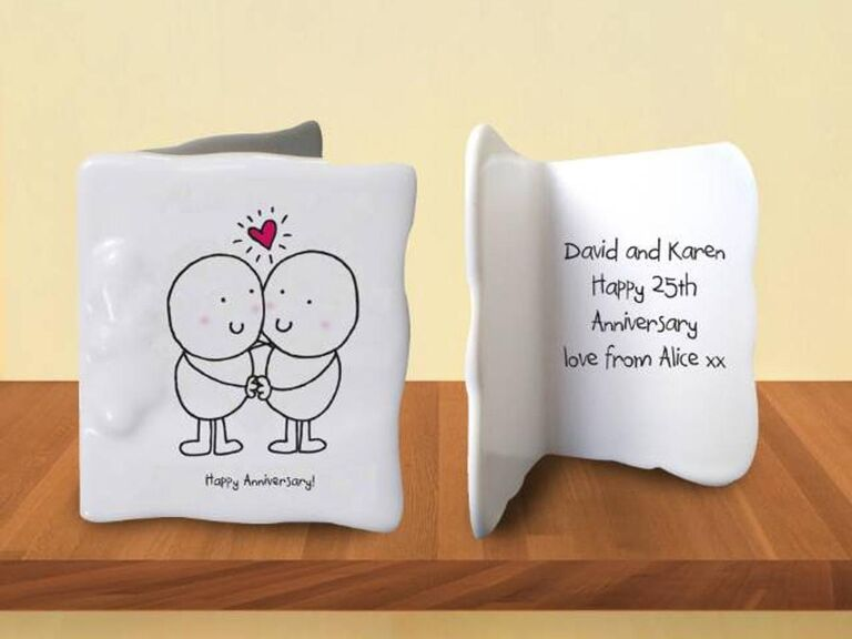White bone china 20th anniversary card with cute illustration