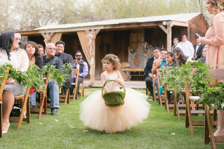 Peach Flower Girl Tulle Dress with Mossy Basket