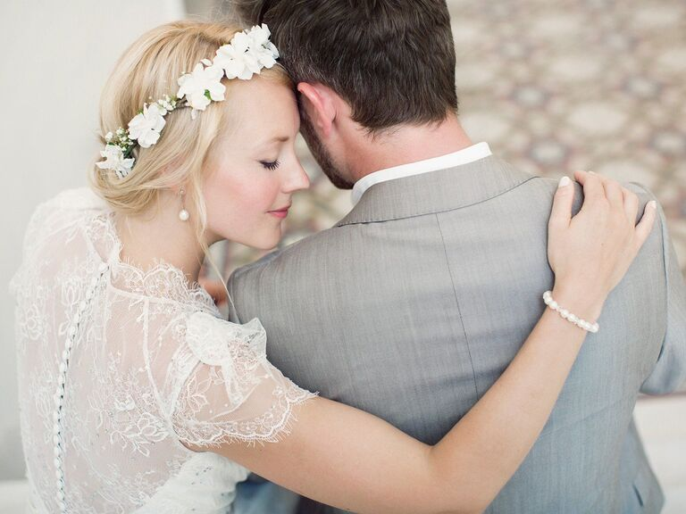 Bridal with flower crown and pearl jewelry accessories