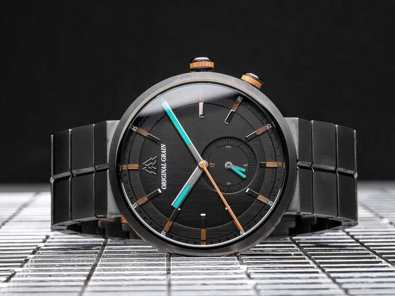 Unique gunmetal stainless steel and teak wood accent 15th anniversary watch gift