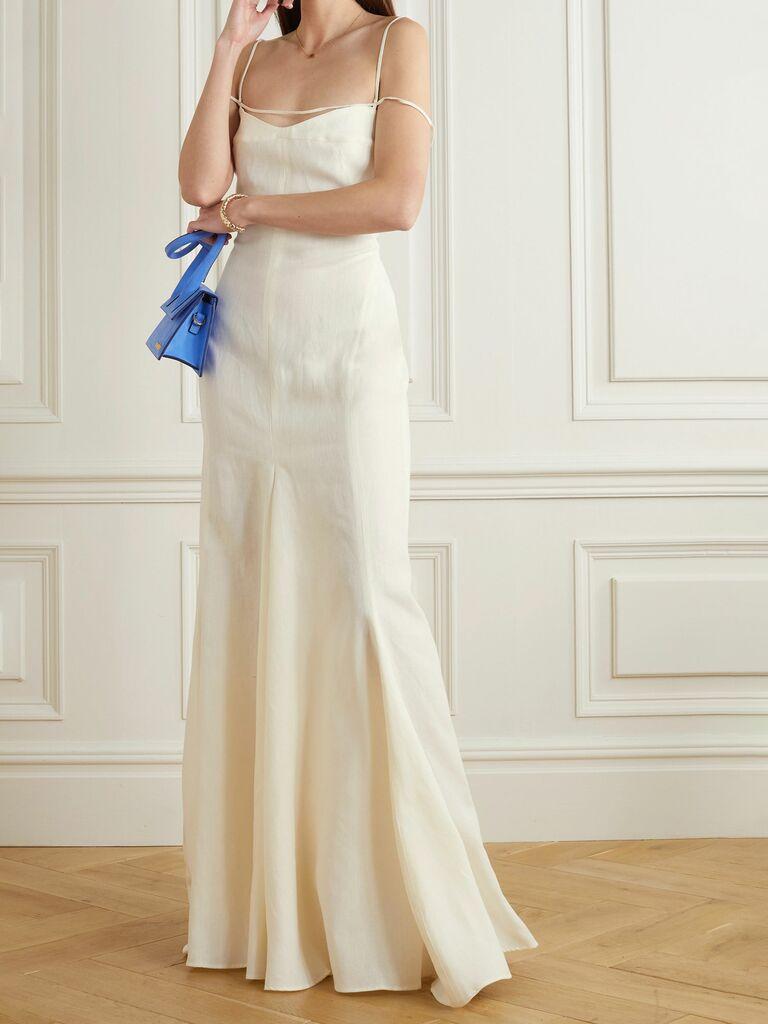 Open-back cutout linen slip dress