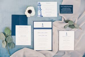 Custom Blue and White Lighthouse Invitations