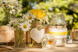 Mason Jars, Yellow and White Flowers