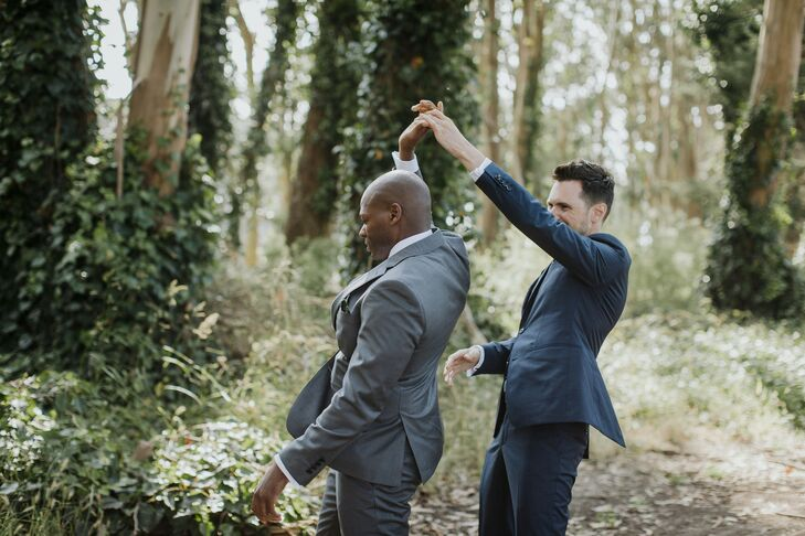 Grooms Share a Dance During Wedding at Prisidio Golf Course in San Francisco, California