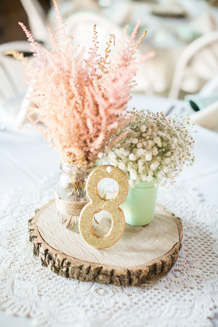 Baby's Breath and Wood Slice Centerpieces