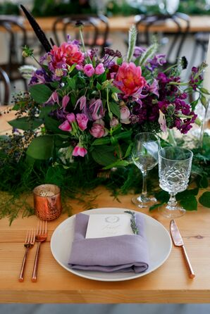 Lavender Place Setting with Purple Linens