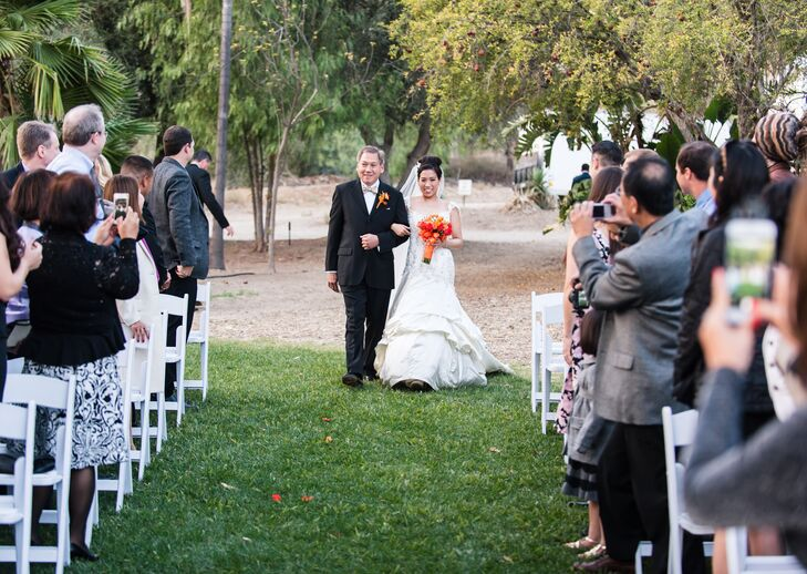 Father Walks his Daughter Down the Aisle during the Processional