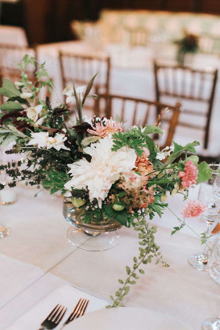 Low Floral Centerpiece with Dahlias and Greenery