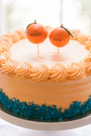 Tangerine Cake Topper with Couple's Names