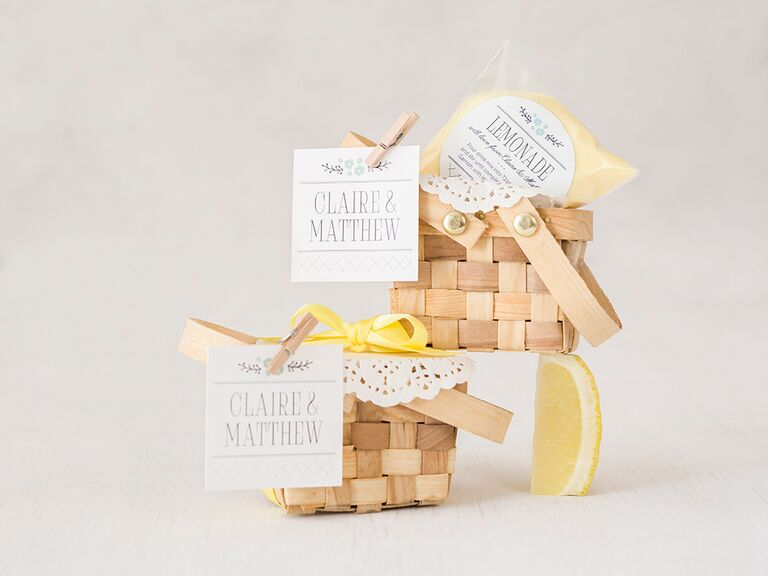 Small picnic basket favors with lemonade