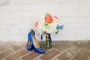 Blue Mano Blahnik Wedding Shoes and Bouquet