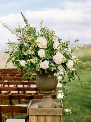 Elegant Flower Arrangement with White Peonies, White Roses and Greenery