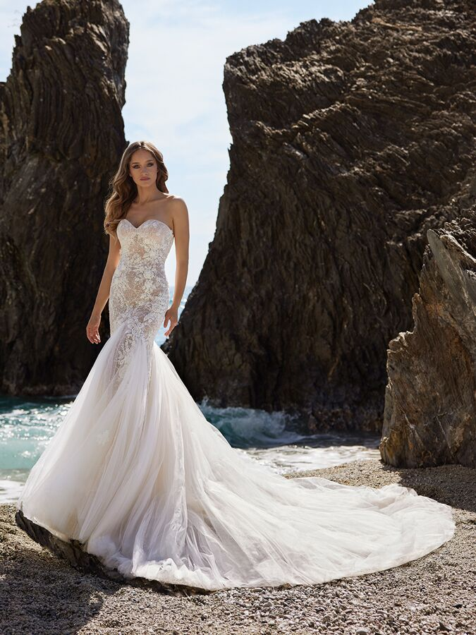 Ines by Ines Di Santo strapless trumpet wedding dress with sweetheart neckline