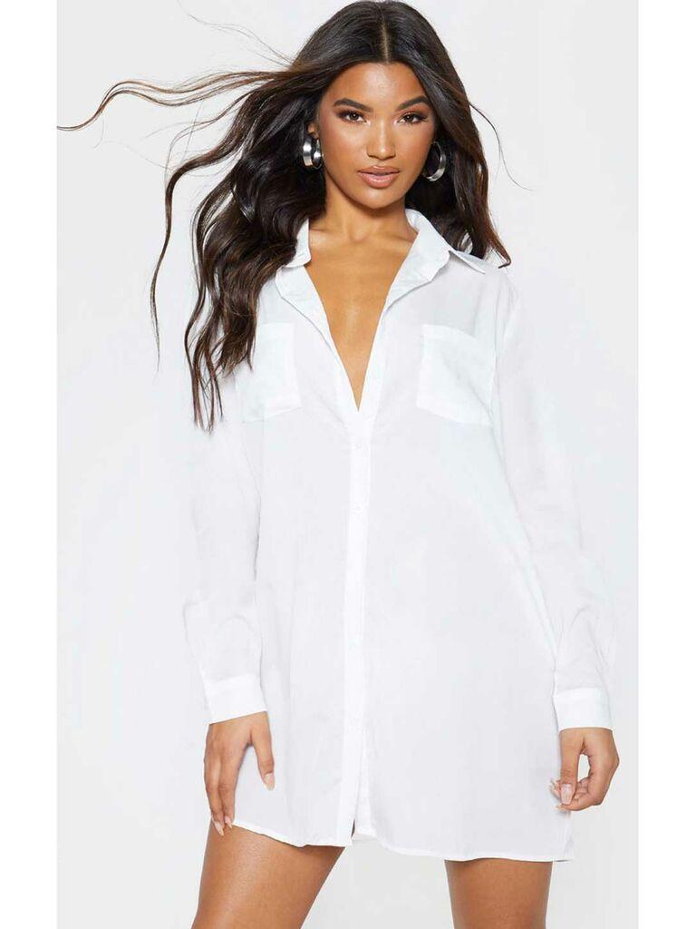 White button down t-shirt dress