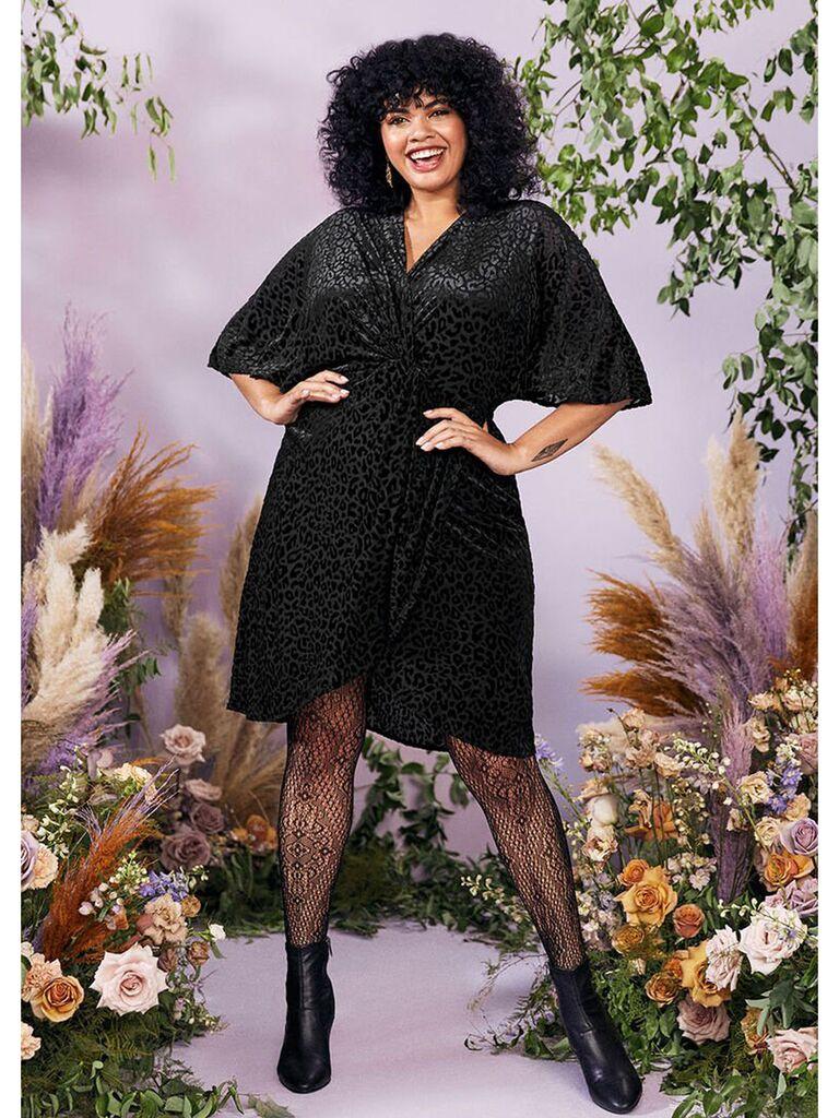 Black velvet leopard print mini dress