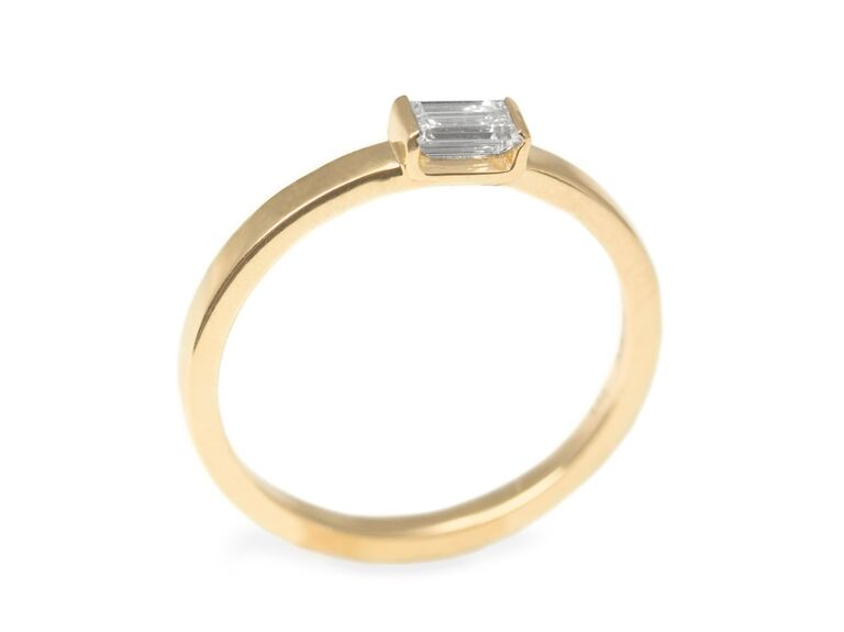 Hotcrown baguette diamond engagement ring in 14K yellow gold