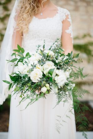 Bouquet with Ferns, Greenery, White Roses and Peonies