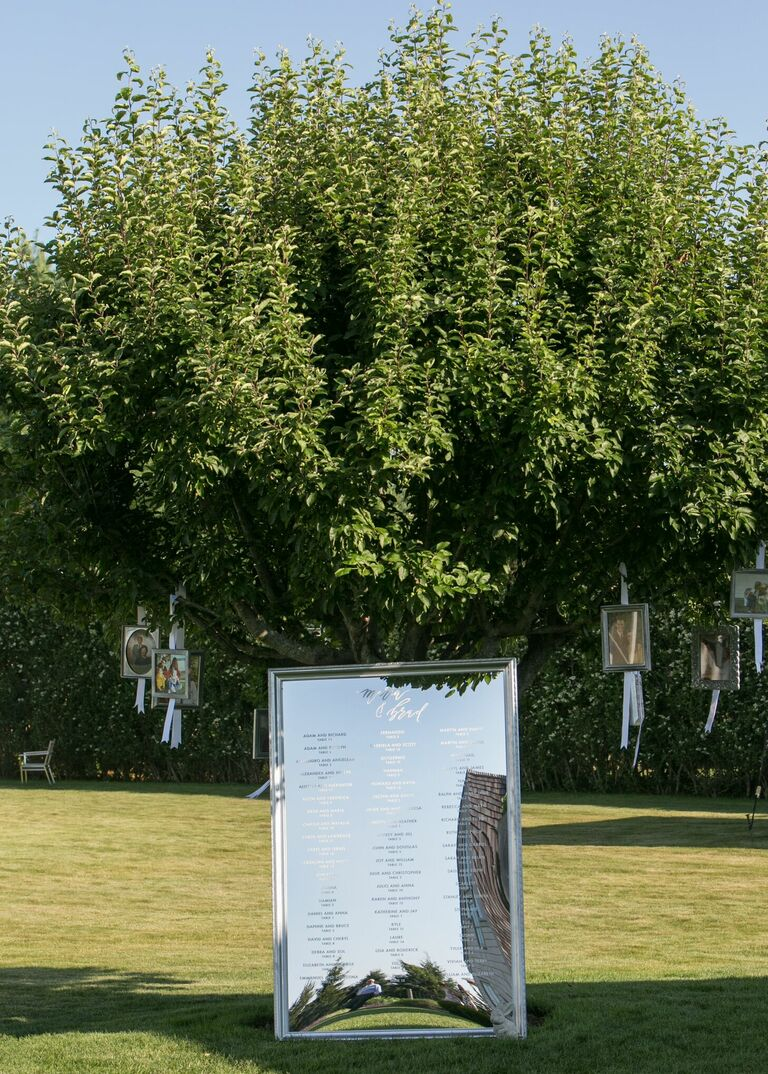 Mirror seating chart under tree