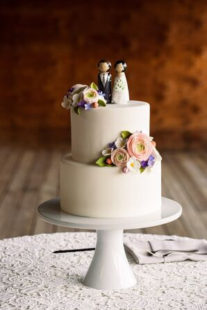 Two Tier Fondant Cake with Custom Wood Cake Topper