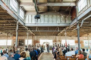 Industrial Ceremony Under String Lights